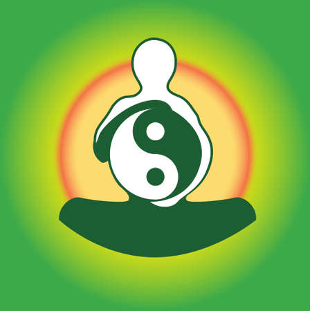 yinyang: Symbol Yin Yan in hands of the person against a sunset.Vector illustration Illustration