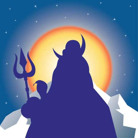 dao: Silhouette Shiva against the sun.Vector illustration Illustration