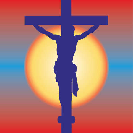 redeemer: Jesus Christ Crucifiction Silhouette. Vector illustration Illustration