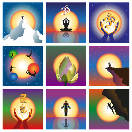 om: Set of nine concepts relating to the spirit and energy. Vector illustration
