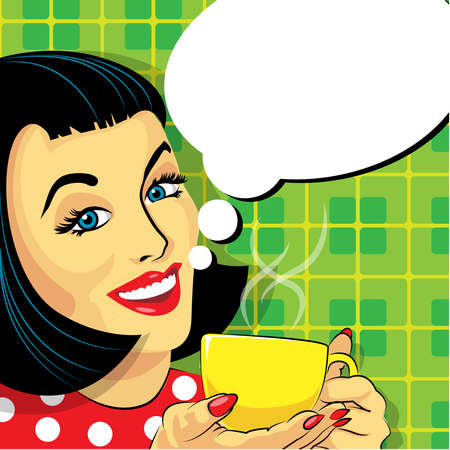 strip club: Vector Pop Art Woman With Cup of Coffee and Speech Bubble. Illustration