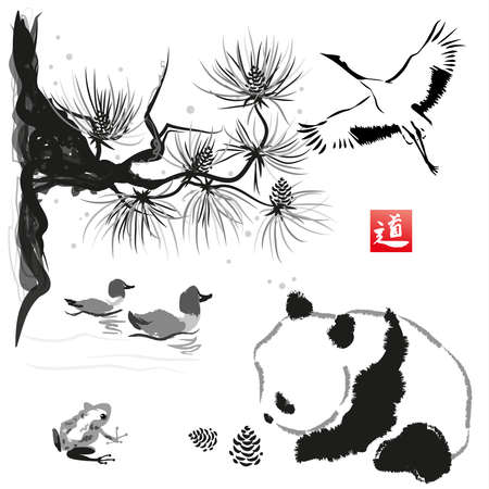 japanese garden: Card with cedar in the bird and panda bear. Hand-drawn with ink. Traditional Japanese painting. Vector illustration. Hieroglyph  way Illustration