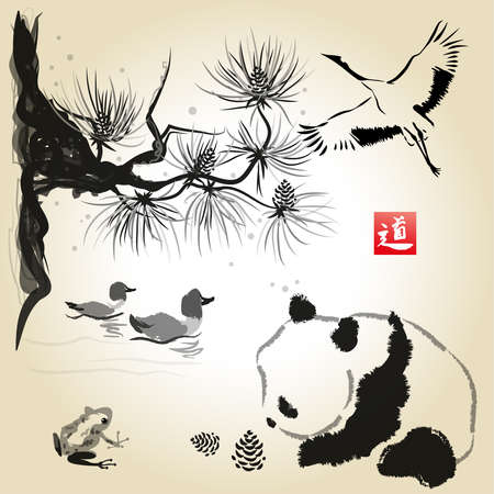 Card with cedar in the bird and panda bear. Hand-drawn with ink. Traditional Japanese painting. Vector illustration. Hieroglyph