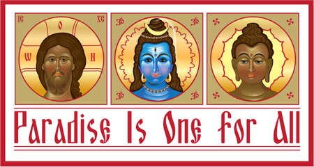 Set the unity of religions, which contains Jesus, Shiva and Buddha. Vector illustration