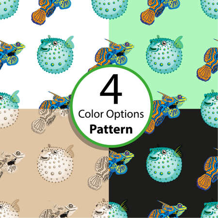 fish ball: Four options seamless pattern with tropical fish and fish ball. Vector  illustration