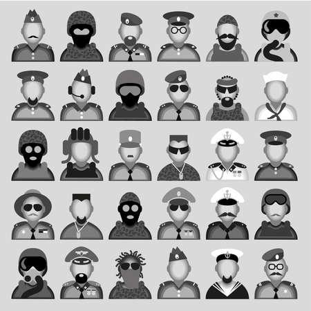 corporal: Original creative vector avatars of men of military professions. Illustration