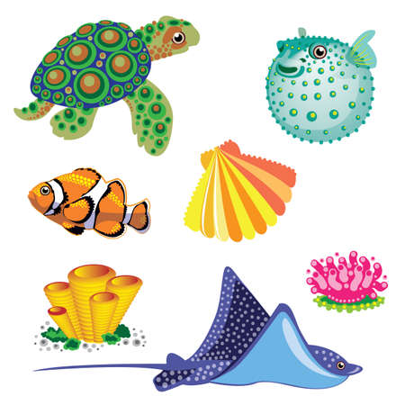 icon collection: Set of Sea Animals. Vector  illustration