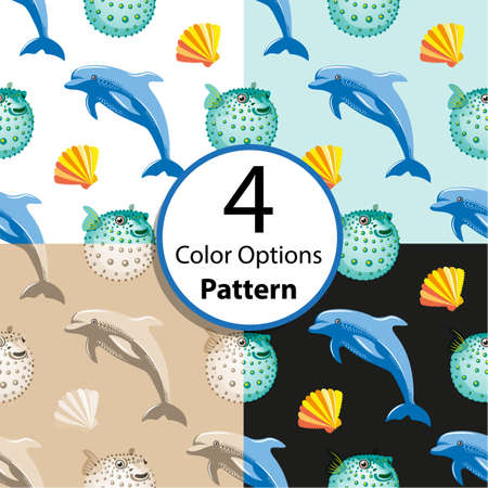 fish ball: Four options seamless pattern with tropical  dolphin and fish ball coral. Vector  illustration