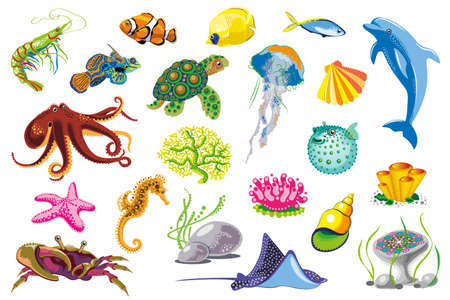 Set of Sea Animals. Vector  illustration
