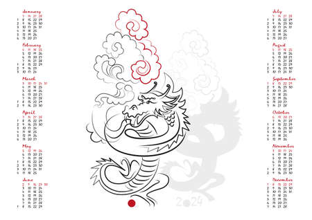 uncluttered: Calendar 2024 in vector isolated on white background.  The Year of the Dragon. Week starts from sunday. Happy New year 2024!