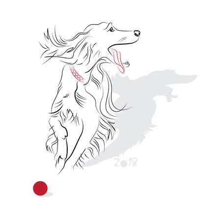 Nouvel an Chinois 2018 (année de chien). Salutation ou carte d'invitation pour la fête. Vector illustration Banque d'images - 48708981