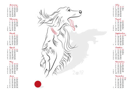 year of the dog: Calendar 2018 in vector isolated on white background.  The Year of the Dog. Week starts from sunday.