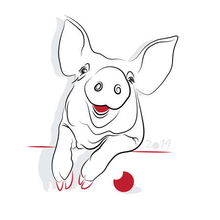 chinese pig: Chinese new year 2019 of the Pig (Pig year). Greeting or invitation card for the holiday. Vector illustration