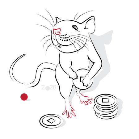 rata caricatura: Año nuevo chino 2020 de la rata (año de la Rata). Saludo o tarjeta de invitación para la fiesta. ilustración vectorial