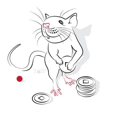 rata caricatura: A�o nuevo chino 2020 de la rata (a�o de la Rata). Saludo o tarjeta de invitaci�n para la fiesta. ilustraci�n vectorial