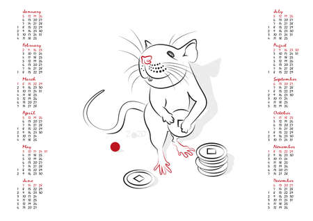 year of rat: Calendar 2020 in vector isolated on white background.  The Year of the Rat. Week starts from sunday.