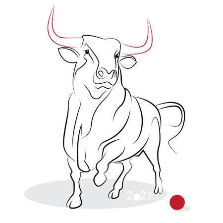 Chinese new year 2021 of the Ox (Ox year). Greeting or invitation card for the holiday. Vector illustration Illusztráció