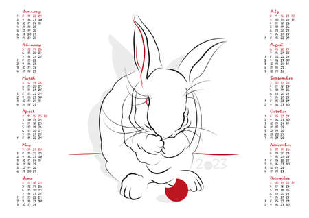 uncluttered: Calendar 2023 in vector isolated on white background.  The Year of the Rabbit. Week starts from sunday Illustration