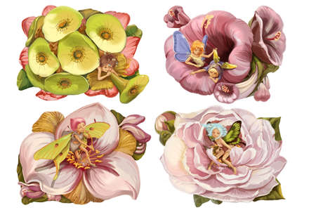 pixie: Four fancy flowers with the fairies in them.  Raster illustration Stock Photo
