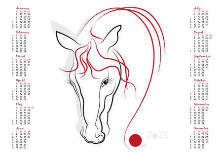uncluttered: Calendar 2026 in vector isolated on white background.  The Year of the Horse. Week starts from sunday. Illustration
