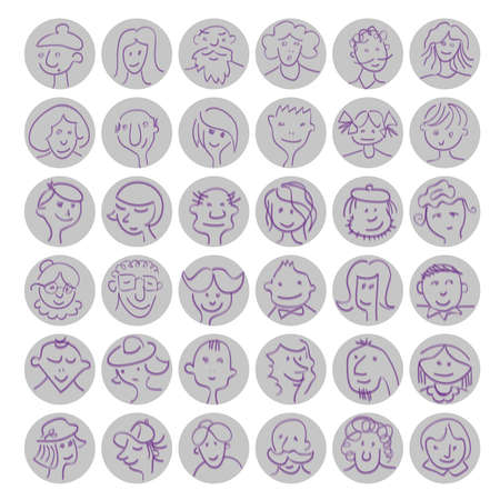 bald girl: Set of hand drawn cartoon avatars people faces with expressions. Vector  illustration Illustration