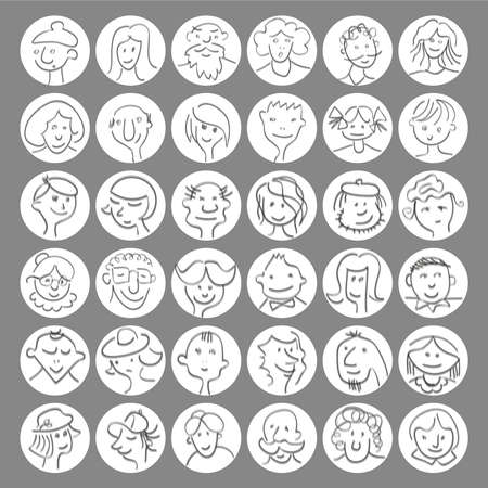bald men: Set of hand drawn cartoon avatars people faces with expressions. Vector  illustration Illustration
