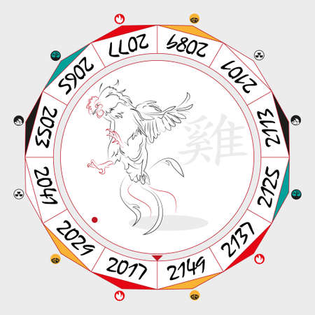 duality: Chinese  Zodiac  Rooster in a circular layout data. The hieroglyph on the word is represented - Rooster. Vector illustration.