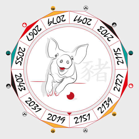 taoist: Chinese  Zodiac  Pig in a circular layout data. The hieroglyph on the word is represented -  Pig. Vector illustration.