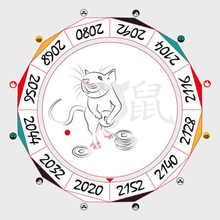 duality: Chinese  Zodiac  Rat in a circular layout data. The hieroglyph on the word is represented -  Rat. Vector illustration.