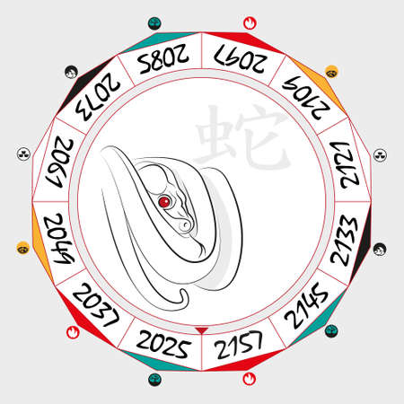 snake calendar: Chinese  Zodiac  Snake in a circular layout data. The hieroglyph on the word is represented - Snake. Vector illustration.