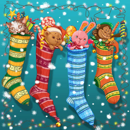 party poppers: Christmas socks with gifts and toys and a garland.Raster illustration