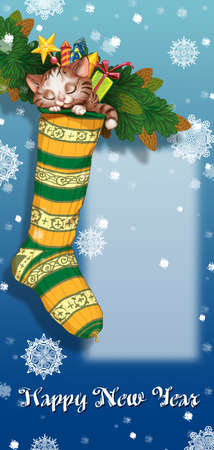party poppers: Christmas sock on fir branch with kitten and gifts. Greeting Card Happy New Year. Raster illustration