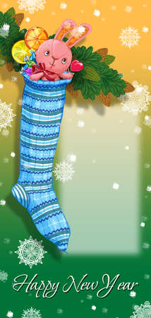 party poppers: Christmas sock on fir branch with bunny and gifts. Greeting Card Happy New Year. Raster illustration