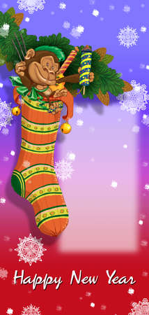 fir branch: Christmas sock on fir branch with monkey and gifts. Greeting Card Happy New Year. Raster illustration