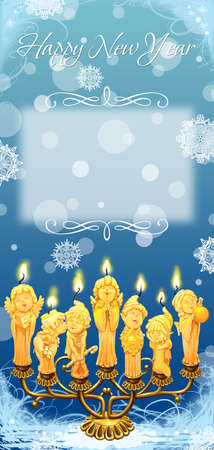 candlestick: Magical Christmas �andle In A Candlestick. Greeting Card Happy New Year. Raster illustration Stock Photo