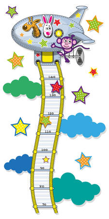 The range measured by the growth of children in the form of cable ladders leading to the plane. Vector illustration