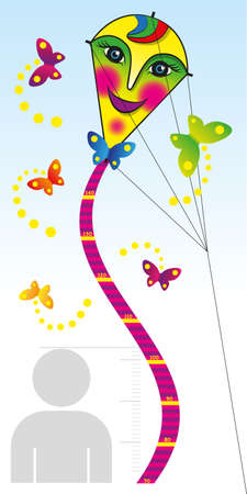 height chart: Ruler for measuring the growth of children in the form of a flying serpent. Vector illustration