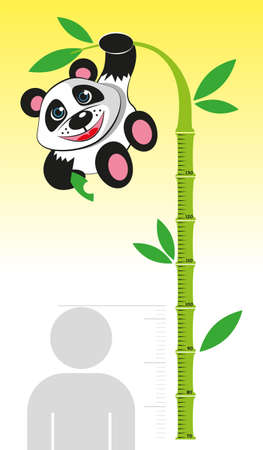 height chart: Ruler for measuring the growth of children in the form of wood and bamboo Panda bear. Vector illustration Illustration