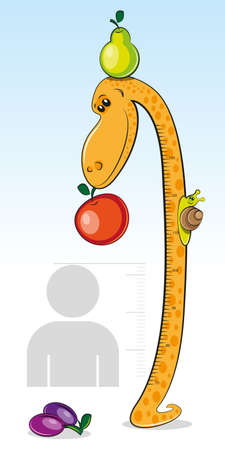 height chart: Ruler for measuring the growth of children in the form of a giraffe with an apple. Vector illustration