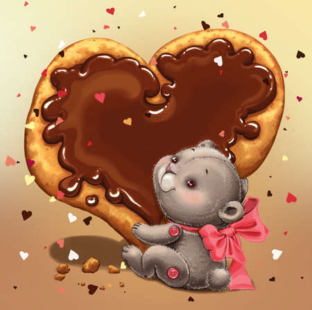 Teddy bear with a red bow, holding a sweet cake with chocolate in the form of heart. Greeting Card Valentines Day. Stock fotó