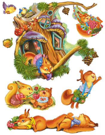 Family squirrels near his house, play and have fun. Fantastic Cartoon Style. Scene  Wallpaper  Background Design