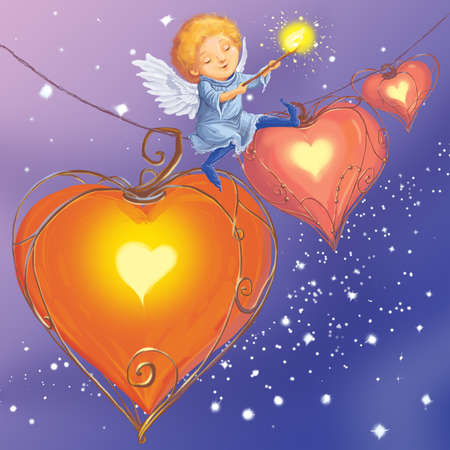 Angel light hearts love congratulates with Valentines Day.  Fantastic Cartoon Style.  Scene  Wallpaper  Background Design