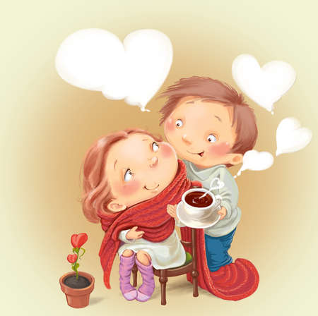 Loving man treats his girlfriend tea congratulates with Valentines Day.  Fantastic Cartoon Style Stock fotó