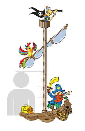 Règle de mesure de la croissance des enfants sous la forme d'un bateau pirate. Vector illustration Banque d'images - 50557300