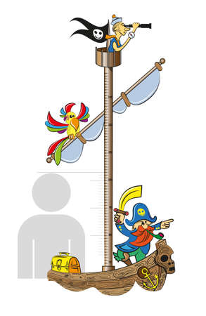 Ruler for measuring the growth of children in the form of a pirate ship. Vector illustration