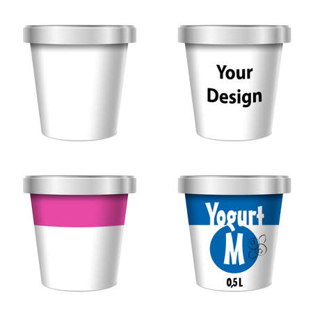 Food Plastic Tub Bucket Container For Dessert, Yogurt, Ice Cream, Sour Cream Or Snack. Mock Up Template Ready For Your Design. Product Packing Vector EPS10