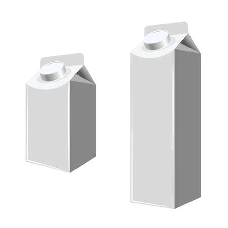 Blank Milk And Juice Carton Packages Isolated On White. Mock Up Template Ready For Your Design. Product Packing Vector EPS10 Illusztráció