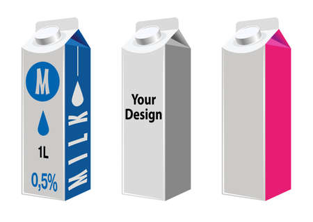 litre: Blank Milk And Juice Carton Packages Isolated On White. Mock Up Template Ready For Your Design. Product Packing Vector EPS10 Illustration