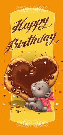 Teddy bear with a red bow, holding a sweet cake with chocolate in the form of heart. Greeting Birthday Card.