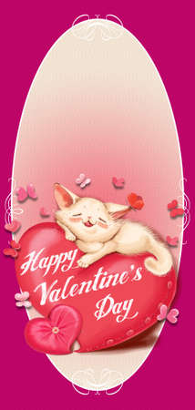 Cute cat lying on a red pillow - heart. Beige background, pink and red butterflies. Greeting Card Valentines Day.